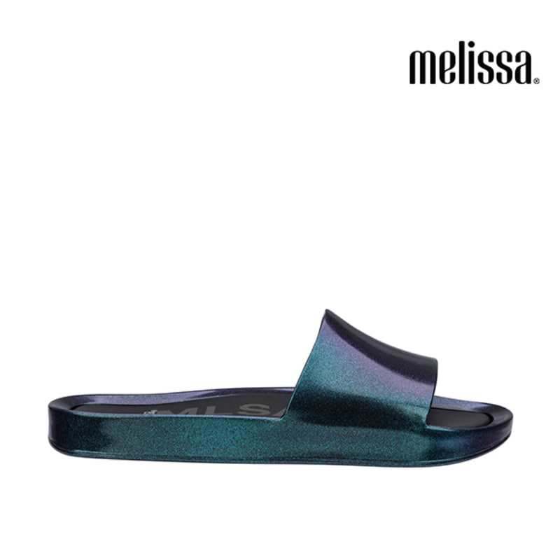 (MELISSA) BEACH SLIDE SHINE AD_IRIDESCENT BLUE